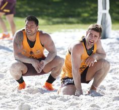 Alex Glenn and Andrew McCullough of the Brisbane Broncos