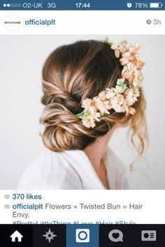 Wedding guest hair...maybe with pearl pins instead of flowers