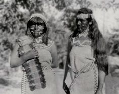 Mewuk (Miwok) women. California, ca 1900. - Miwok lived in small bands without a central political authority before contact with whites in 1769. They domesticated dogs and cultivated tobacco, but were otherwise hunter-gatherers. Miwok mythology tends to be similar to those of other tribes of Northern California. Miwok had totem animals, identified with one of two moieties, which were in turn associated with land and water. Totem animals were not ancestors of humans, but rather  predecessors.