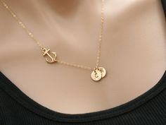 24k Gold vermail Anchor Necklace,sideways Anchor,Personalized initial,Sailors Anchor,Wedding Jewelry,Bridesmaid gifts,daily Jewelry,strength by tydesign on Etsy