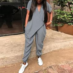 9bf885f305a8 VONDA Rompers Womens Jumpsuit Summer 2018 Sexy V Neck Halen Playsuit Short  Sleeve Casual Loose Long Overalls Plus Size