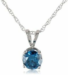 10k White Gold and Blue Diamond Solitaire Pendant Necklace (1/2 cttw, I2-I3 Clarity), 18