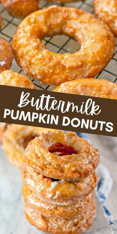 Looking for the perfect fall breakfast? These Buttermilk Pumpkin Donuts are a delicious sweet breakfast treat that you won't be able to resist. Pumpkin Donuts Recipe, Homemade Donuts, Pumpkin Recipes, Fall Recipes, Fun Baking Recipes, Donut Recipes, Dessert Recipes, Cooking Recipes, Fall Breakfast