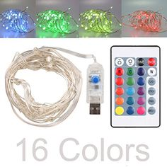16ft LED USB String Lights 16 Colors Multi Color Changing Copper Wire String Lights with Remote Control Waterproof Decorative Lights for Bedroom Patio Garden Gate Parties Wedding Christmas Tree ** Check out the image by visiting the link. (This is an affiliate link)