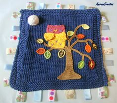 Hand knitted baby owl in the night sky baby comfort/taggy sensory blanket