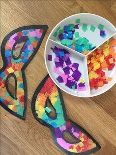 25 Mascaras de Carnaval para crianças - Aluno On, Kids Crafts, Diy Home Crafts, Preschool Activities, Arts And Crafts, Theme Carnaval, Diy Paper, Paper Crafts, Carnival Crafts, Cardboard Crafts