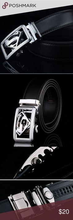 ⚜️Superman Belt⚜️ Awesome black leather belt with silver Superman buckle. Belt can be adjusted to just about any size for comfortable fit. Accessories Belts