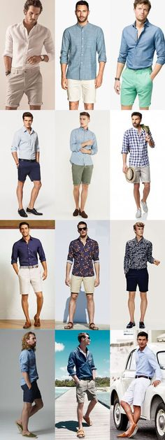 Men's Go-To Smart-Casual Summer Outfit Combinations: Long-Sleeved Shirt And Shorts Combination Inspiration Lookbook