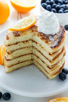 Super soft and fluffy Lemon Ricotta Pancakes made from scratch! These lemon pancakes are bursting with flavor and always a hit for breakfast or brunch! Pancakes Easy, Pancakes And Waffles, Scones, Lemon Ricotta Pancakes, Crepes, Best Pancake Recipe, Sandwiches, Breakfast Dishes, Breakfast Ideas