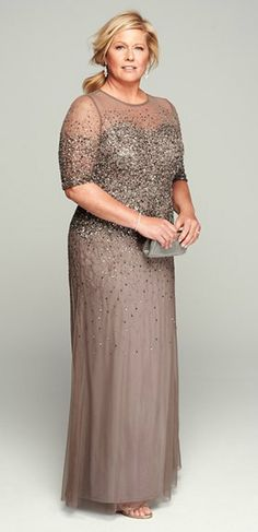 Perfect mother-of-the bride gown | Adrianna Papell beaded gown