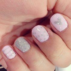 Cake pop pink and silver glitter shellac nail art