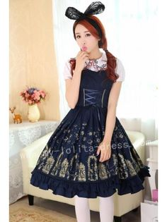 db8c6a7a24 ~Iron Window and Cats~ Printed Lolita Jumper Dress - Custom Tailor  Available Kawaii Dress