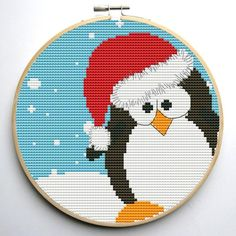 (10) Name: 'Embroidery : Christmas Penguin Cross Stitch Pattern