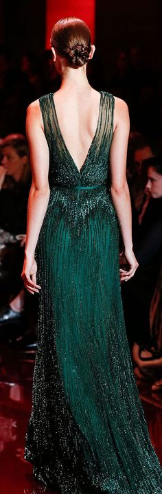 Emerald green gown.by Elie Saab