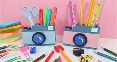MANUALIDADES PARA EL REGRESO A CLASES | MINI ORGANIZADORES DE CARTÓN MUY FÁCILES #2 | Alexey.es Diy Crafts For Girls, Easy Diy Crafts, Diy Crafts Videos, Arts And Crafts, Cardboard Crafts, Paper Crafts, Origami, Desk Organization, Diy Tutorial