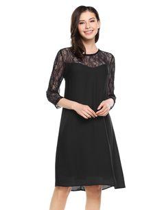 Black Womens 3/4 Sleeve Floral Lace Chiffon Casual Keyhole Back Shift Dress