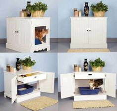 Pet Studio Litter Box Cabinet Newport White