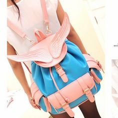 Stacy's bags women backpack Angel wings female travel backpack girl fashion preppy style student backpack school bag travel bag $15.00