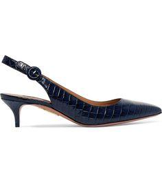 Aquazzura Pure Croc-Effect Leather Slingback Pumps Fall Heels, Slingback Pump, Aquazzura, Who What Wear, Crocs, Kitten Heels, Footwear, Pumps, Slingbacks