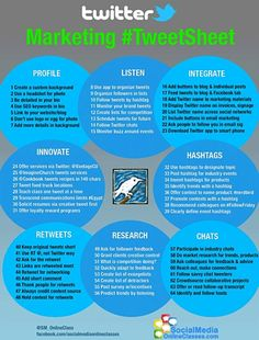 Twitter Marketing #TweetSheet: Make Every Tweet Count from Maria Peagler of Socialmediaonlineclasses.com