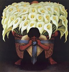 diego rivera paintings | Diego Rivera Paintings - Diego Rivera flower carrier Painting