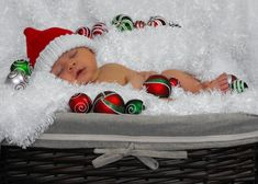 "Baby's first Christmas - newborn photography- maybe use fake snow to decorate and add present tag saying ""From God"""