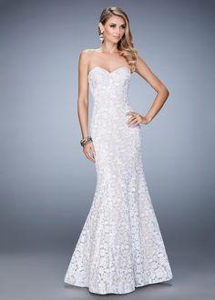 La Femme 22511 Classic Strapless Lace Mermaid Gown