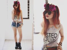 Il Fiore Floral Headband, Gifi Clothing Wasted Youth Crop Top, Thread And Knots Acid Wash Denim Shorts
