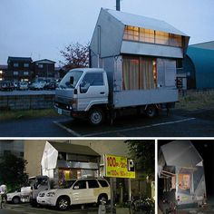 Convertible Camper: DIY Japanese-Style Mobile Home.  Watch the video. Giant bathtub is main feature? These are my peeps.
