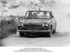 Due scatti di René Trautmann in coppia con la moglie su Lancia Flavia Coupé all'Acropolis '65.