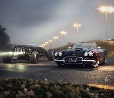 2 of my models in the same scene..Enjoy. #3dart #engine #supercars #3dstudiomax #aftereffects #render #vfx #technology #cardesign #prototype #mechanicalengineering #graphics #motor #industrialdesign #rotary #turbo #visulisation #roadster #3d #vray #instaart #mechanic #3dmodel #americanmuscle #hotrod #corvette