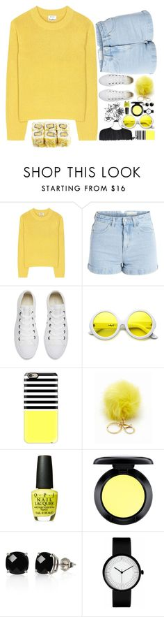"""""""Yellow"""" by jyellow-11 ❤ liked on Polyvore featuring Acne Studios, Pieces, Converse, ZeroUV, Casetify, MAC Cosmetics and Belk & Co."""
