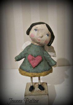 Ange avec une poupée papier mâché folk art de coeur OOAK