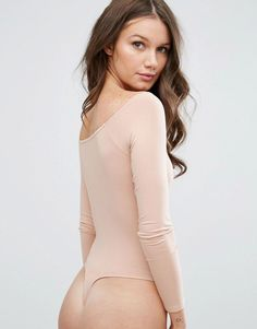 ASOS Long Sleeve Off Shoulder Body - Orange