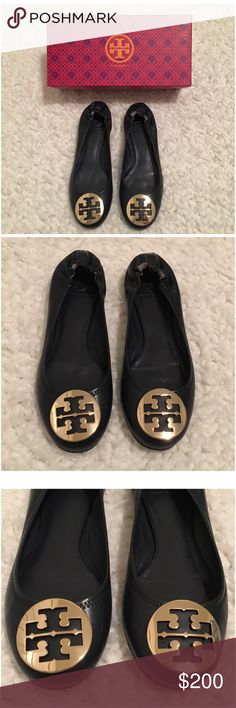 BNIB Tory Burch Navy Blue Reva Flats Size 9 Brand New, In Box Navy Blue Tory Burch Reva Ballet Flats. Perfect condition, only tried on once. Comes with box and Tory Burch bag. Beautiful leather flats with gold Tory Burch logo on the toes. Fits true to size. No Trades and No PaypalPurchased from Tory Burch website for $225, price is firm. This color is no longer available from Tory Burch website. Shoes Flats & Loafers