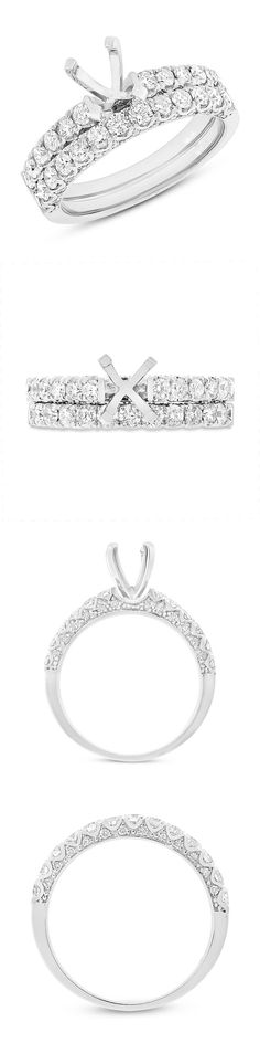 Sets without Stones 177019: 14K White Gold Diamond Semi Mount Bridal Wedding Set Engagement Ring Solitaire -> BUY IT NOW ONLY: $2490 on eBay!