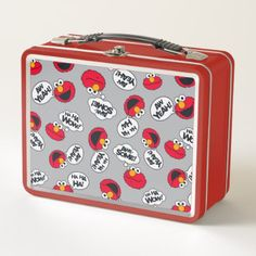 Elmo   Aw Yeah Awesome Pattern Metal Lunch Box - retro kitchen gifts vintage custom diy cyo personalize