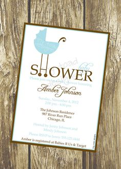 Baby Carriage Baby Shower Invitations Baby Boy Shower Invitation by TinyToadDesigns, $12.00