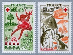 1975年赤十字切手2種