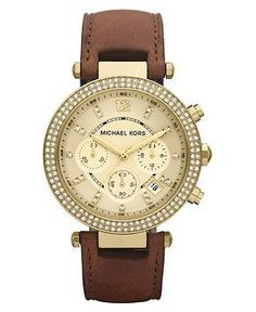 Michael Kors Watch, Women's Chronograph Parker Chocolate Brown Leather Strap 39mm MK2249 - All Watches - Jewelry & Watches - Macy's