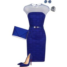 Sapphire Sensation by toots2271 on Polyvore featuring moda, Little Mistress, R.H. Macy's & Co. and Alice Joseph Vintage