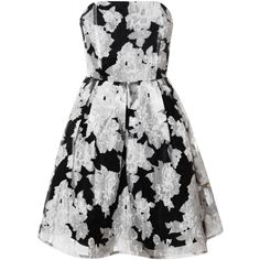 Black Bandeau Prom Dress With Rose Print ($62) ❤ liked on Polyvore featuring dresses, multi, black cocktail dresses, rose dress, overlay dress, kohl dresses and strapless prom dresses