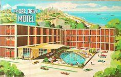 Shore Drive Motel, IL, 1960s...very colorful photo.