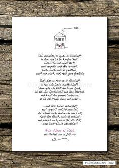 Gastgeschenke - Druck/Print: Liebesgedicht zur Hochzeit/Verlobung - ein Designerstück von DiePersoenlicheNote bei DaWanda