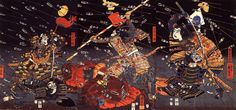 歌川国芳-07 Last stand of the Kusunoki at Shijo-Nawate. Utagawa Kuniyoshi, 1857. (British Museum)