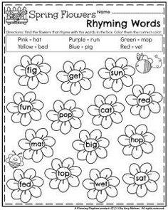 Spring Kindergarten Worksheets - Rhyming Words