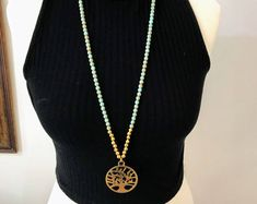 #forher#necklace#handmade#Boho#ethnic#jewlery#gifts#mala#style  Christmas gift necklace, unique tree of life necklace, golden tree of life necklace, ooak tree of life necklace, long colorful necklace