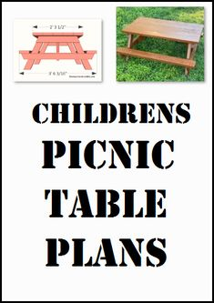 Children's picnic table plans, free PDF download, includes how-to step-by-step instructions, drawings, measurements, shopping list and cutting list. Diy Picnic Table, Picnic Table Plans, Step By Step Instructions, Pdf, How To Plan, Children, Drawings, Free, Shopping