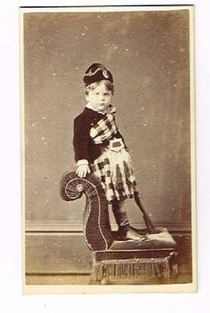 Old CDV Photograph Small Boy in Tartan Kilt Knighton Studio Rhyl Antique C 1870 | eBay