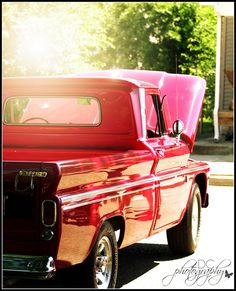 creative cain cabin: Antique Trucks and Cars  RED truck!
